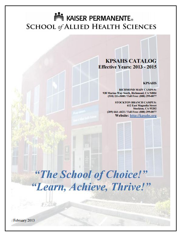 cover of archived academic catalog